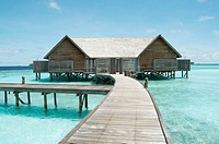 Water bungalows in Maldives Island, Indian Ocean
