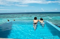 Seascape in water villa swimming pool. Maldives Island, Indian Ocean