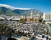 City Hall and Table Mountain, Cape Town. South Africa
