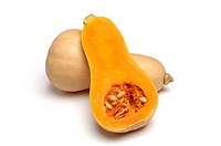Butternut Squash, whole and half, on white background