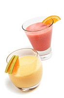 Smoothies on white background