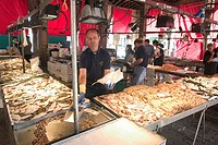 Food : vendor at a seafood market, Rialto Market, Venice, Italy