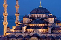 Blue Mosque in the evening and Bosphore in background, Istanbul. Turkey