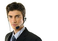 Portrait of a businessman wearing a headset