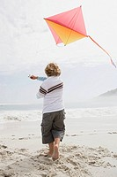Boy flying a kite (thumbnail)