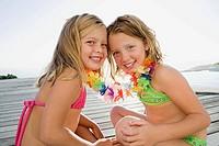 Girls with flower garland