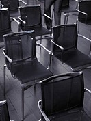 Detail of chairs in empty auditorium