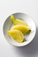Steamed fennel in a dish