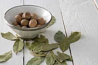Nutmeg and bay leaves