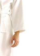 Mid section view of a man with a bathrobe on