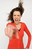 Woman pointing finger in protest