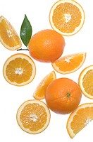 Oranges, fruits and slices