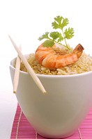 Rice with shrimps and parsley