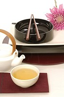 Asian place setting with tea