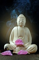 Buddha with joss sticks and pink petals