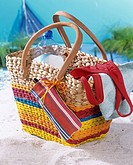 Beach bag with stripes and small mobile phone or spectacle case