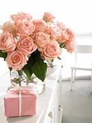 Pink bouquets and a wrapped gift