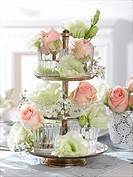 Etagere with rose blossoms in glasses