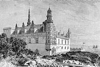 Kronborg castle in 1850´s. (From ´Le Tour du Monde´, 1860´s). Helsingor. Denmark.