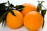 Oranges with stem and leaves