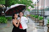 Two women standing under umbrella, smiling