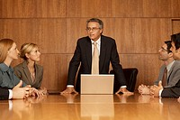 Group of business executives in a meeting (thumbnail)