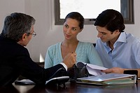 Two businessmen with a businesswoman discussing in a meeting
