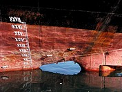 Keel and back of stern of a Maltese cargo ship at port, Malaga. Andalucia, Spain