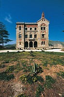 Palace on a landscape, Florio Palace, Favignana, Egadi Islands, Sicily Region, Italy