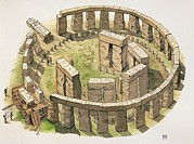Prehistoric Britain - Construction of the Stonehenge enclosure - Drawing
