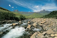 Stream flowing on rocks, Royal Natal National Park, Drakensberg, South Africa