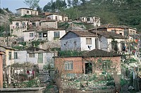Low angle view of houses on a hill, Tanners' Quarter, Shkoder, Albania