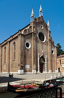 Facade of a church, Santa Maria Gloriosa dei Frari, Venice (UNESCO World Heritage Site, 1987), Veneto Region, Italy