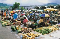 Group of people at a market, Roseau, Dominica