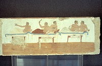Paestum, Funerary paintings, frescoes of the Tomb of the Diver at the museum