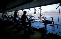 Working out in the gym with a view on Mount Vesuvius