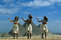 Cairo, pharao lookalikes in front of the pyramids of Giza