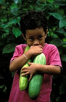 Samoa, portrait of a boy with vegetables