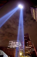 World Trade Center memorial lights, Manhattan, NYC. USA