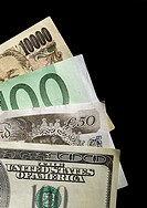 Yen, Euro, Pound and one hundred dollar bill, close-up