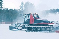 Snow plough on snow