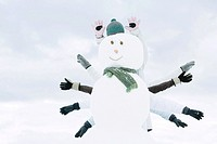 Snowman, several people's arms emerging from behind
