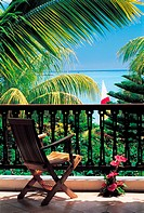 Mauritius, Grand Baie, balcony with sea view