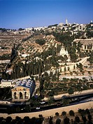 Israel, Jerusalem, Kidron Valley from the Mount of Olives, church of all Nations in the foreground