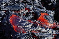 Reunion, Piton de la Fournaise volcano, incandescent lava