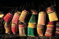 Mauritius, Port-Louis, colored baskets on sale