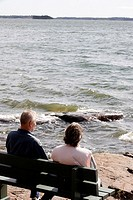 Elderly couple by the sea  Finland