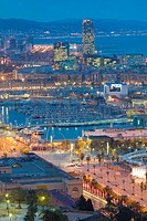 Waterfront of Barcelona at dusk. Barcelona. Catalonia. Spain