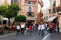 People walking at a street in Taormina, Sicily, Italy