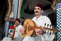 Musicians playing at Marhaba Palace, a luxurious palace restaurant in the old town. Tangier. Morocco